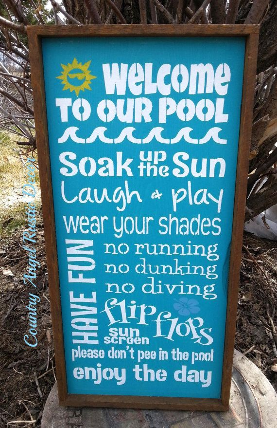 Pool Rules Rustic Distressed By Countryangelrustic On Etsy
