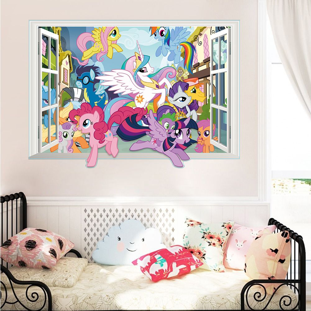 Twilight Sparkle Apple Jack Pinkie Pie Wall Decor Stickers Bedroom Decor My  Little Pony 3d Window