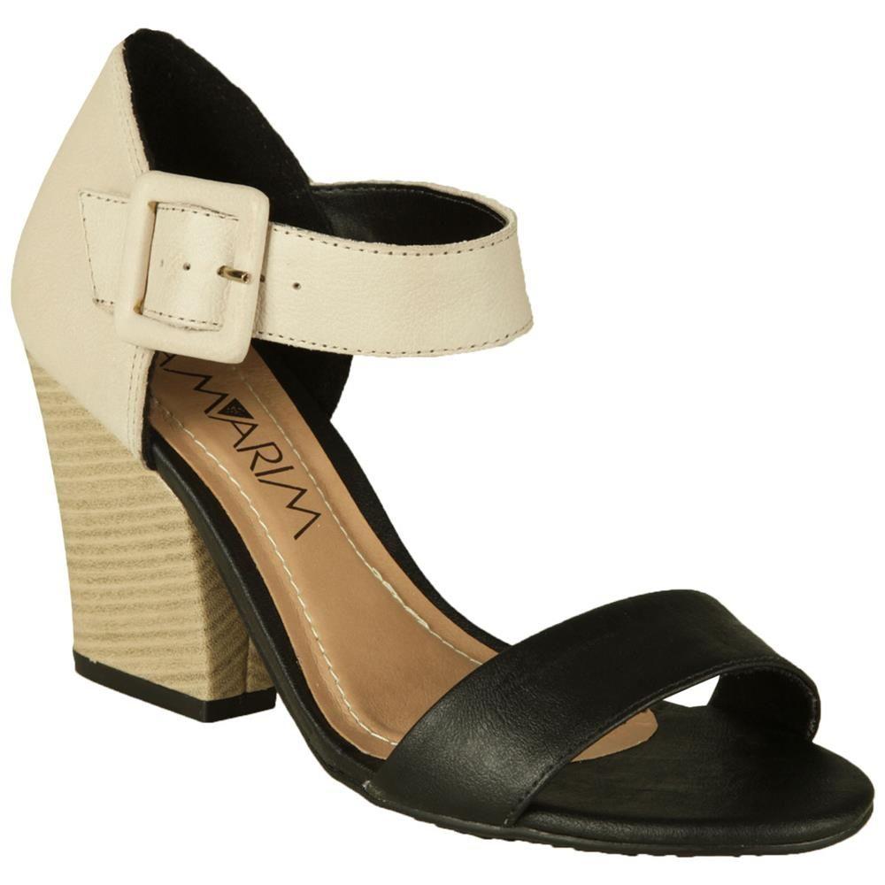 076221f54 Sandália Ramarim Salto Quadrado Preta Preto e AMENDOA #sandals #shoes  #loveshoes