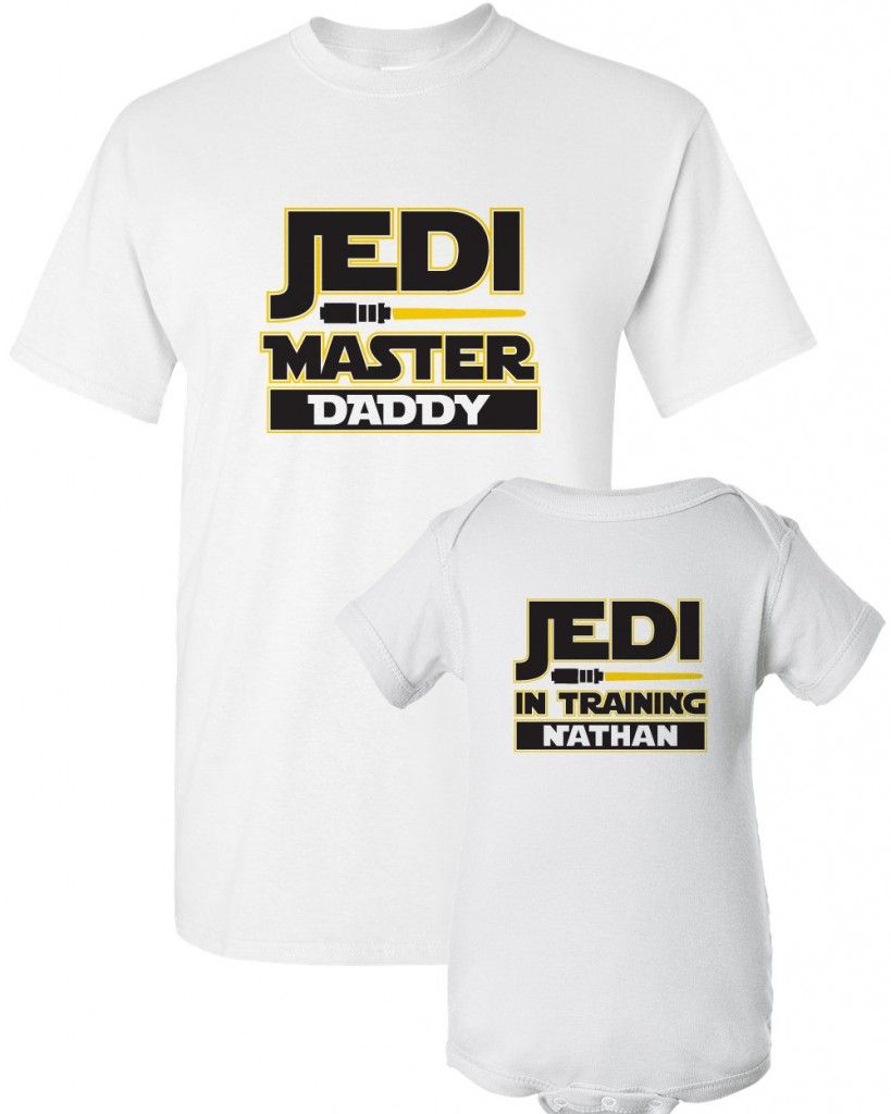 Matching Father Baby Gift Set Mens T Shirt /& Baby T-Shirt Jedi Dad /& Jedi Baby