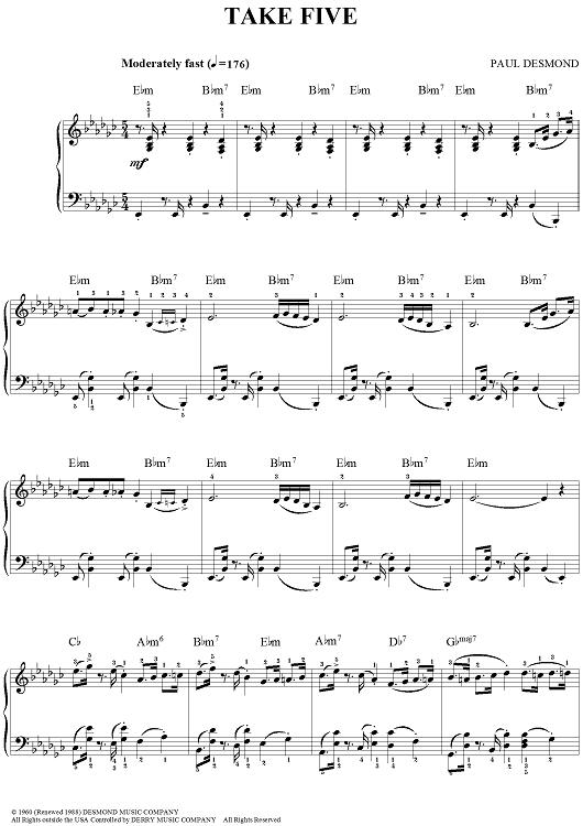 Take Five Midnight Jazz Pinterest Music Sheet Music And