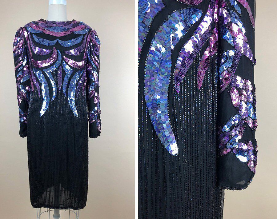 Large size 80s Party dress 80s long sleeve maxi dress BLACK Sequined Maxi dress