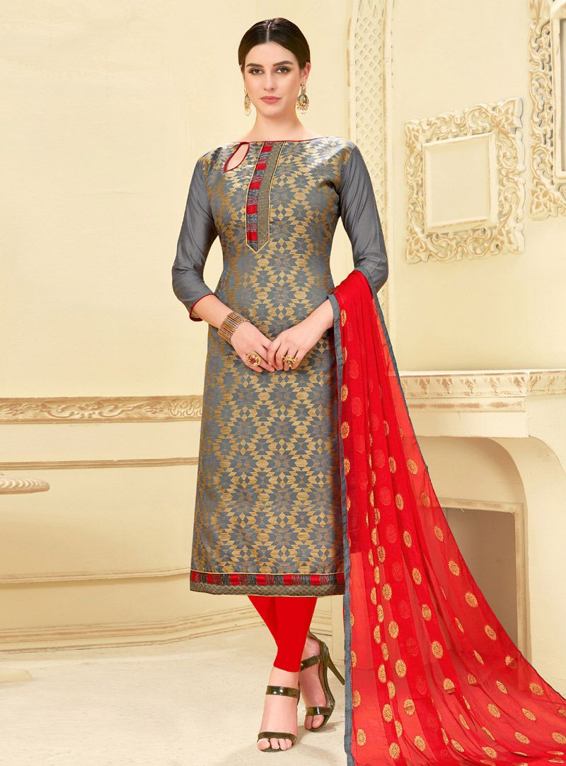 9ccd24af46 Buy Gray Banarasi Silk Churidar Salwar Kameez 149090 online at lowest price  from huge collection of salwar kameez at Indianclothstore.com.