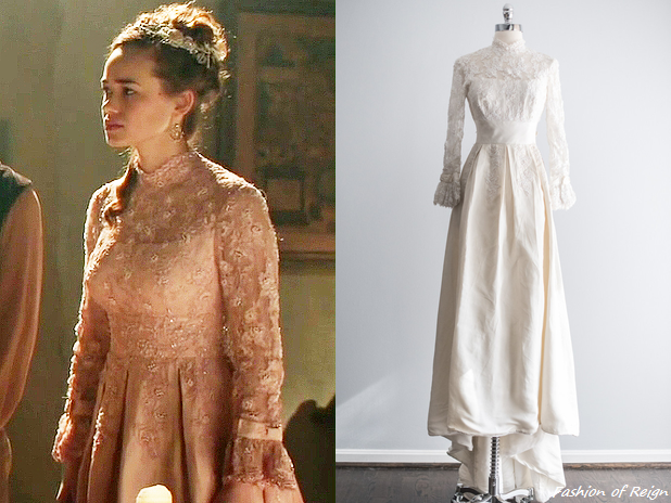 """In the episode 2x22 (""""Burn"""") Princess Claude wears a vintage 1950s Beaded Lace and Taffeta Gown from ShopGossamer. The dress was ombre-dyed by the master dyer Madeline Brian of Radicules & Reticules.Claude wears her dress with a pair ofearrings and headpiecefrom Edera Jewelry."""