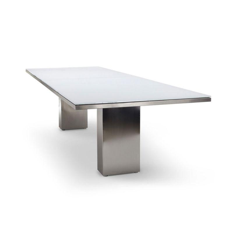 Gartentisch Cima Dining Doble 300 Cm Rechteckig Mit Glasplatte Von Fueradentro Gartentisch Tisch Aus Edelstahl Stahltisch