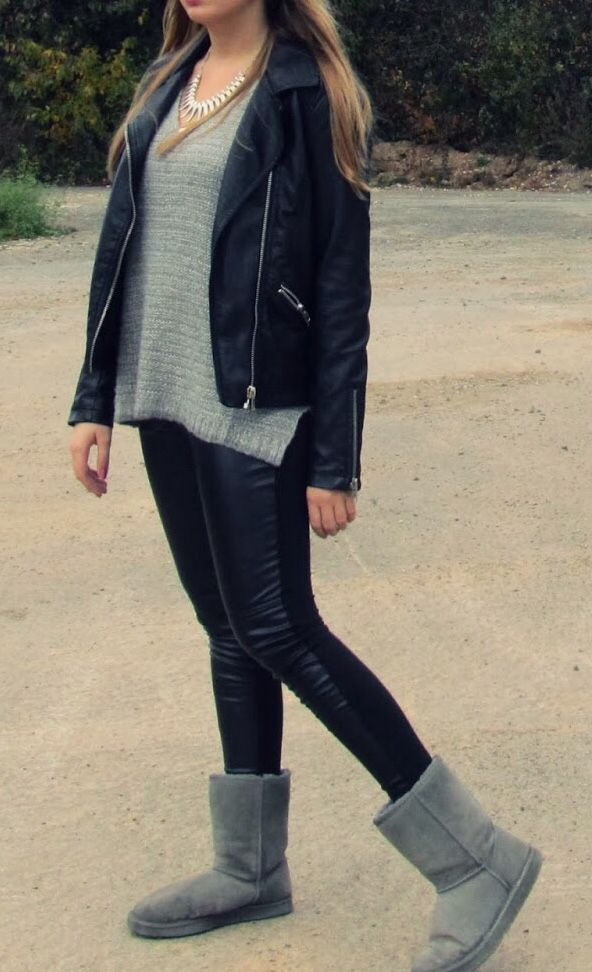 d238b822e85548 Leather Leggings and UGGs - best Combo...