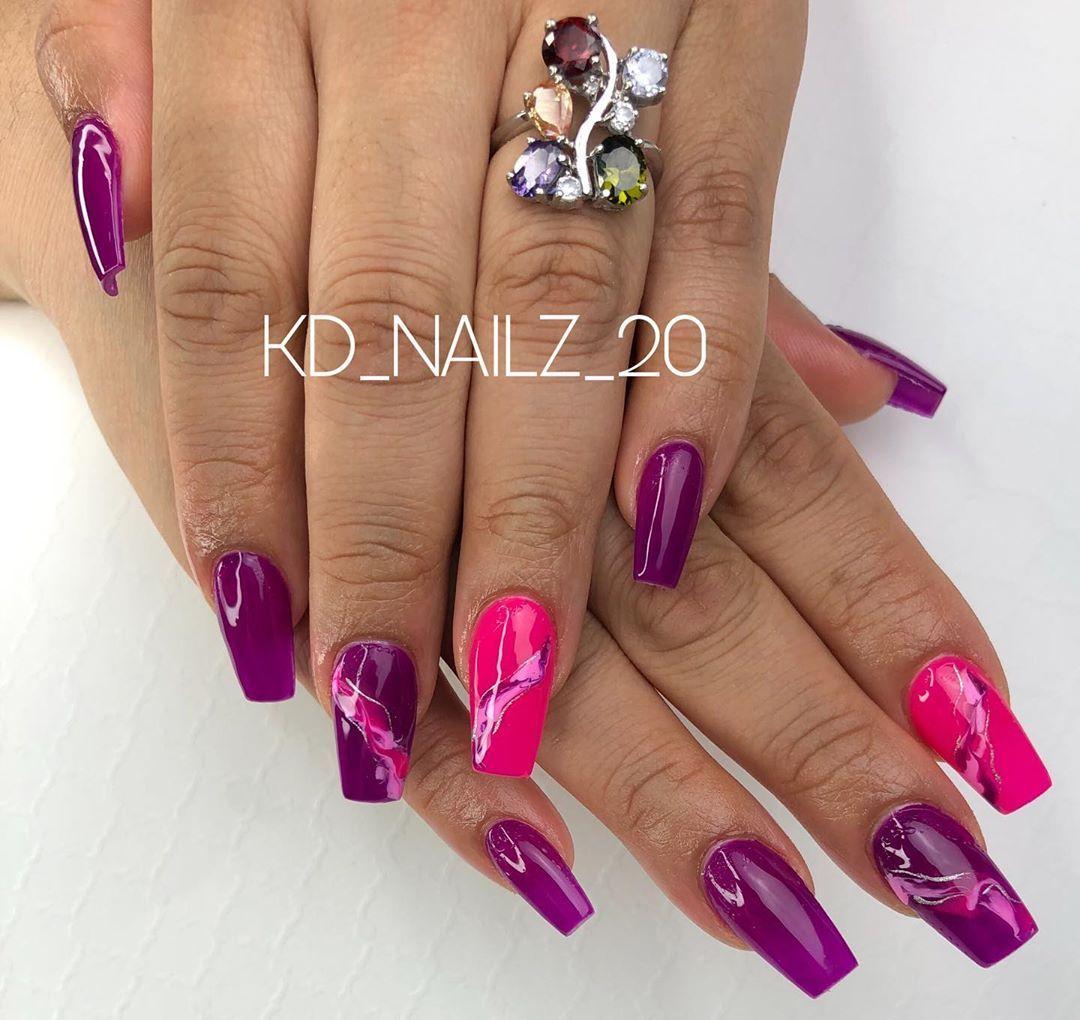 "KMM on Instagram: ""Thanks for the visit @xiulay 😂 - - - #nails #nailtech #ocalanails #purplenails #pinknails #bloomingnails #miasecret #acrilycnails…"""