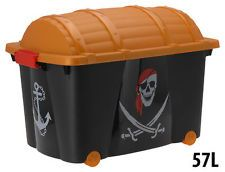 Kids Plastic Toy Box With Pirate Design