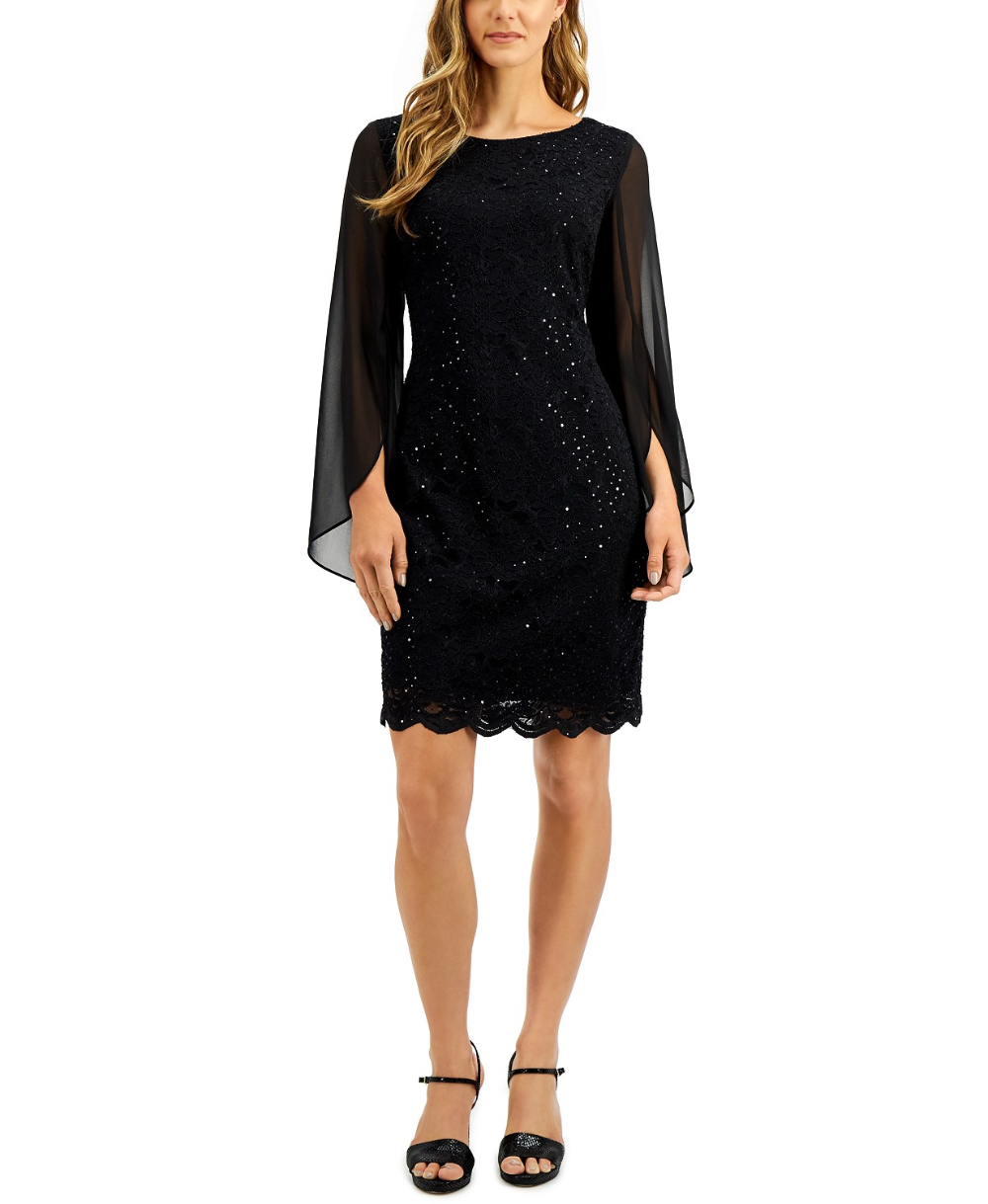 Connected Flutter Sleeve Sequined Lace Dress Reviews Dresses Women Macy S In 2020 Lace Dress Black Lace Dress Review Dresses,Stella York Wedding Dress Prices