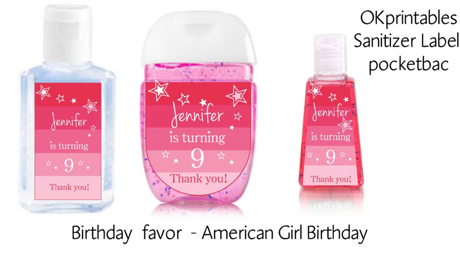 American Girl Birthday Hand Sanitizer Labels American Girl Party