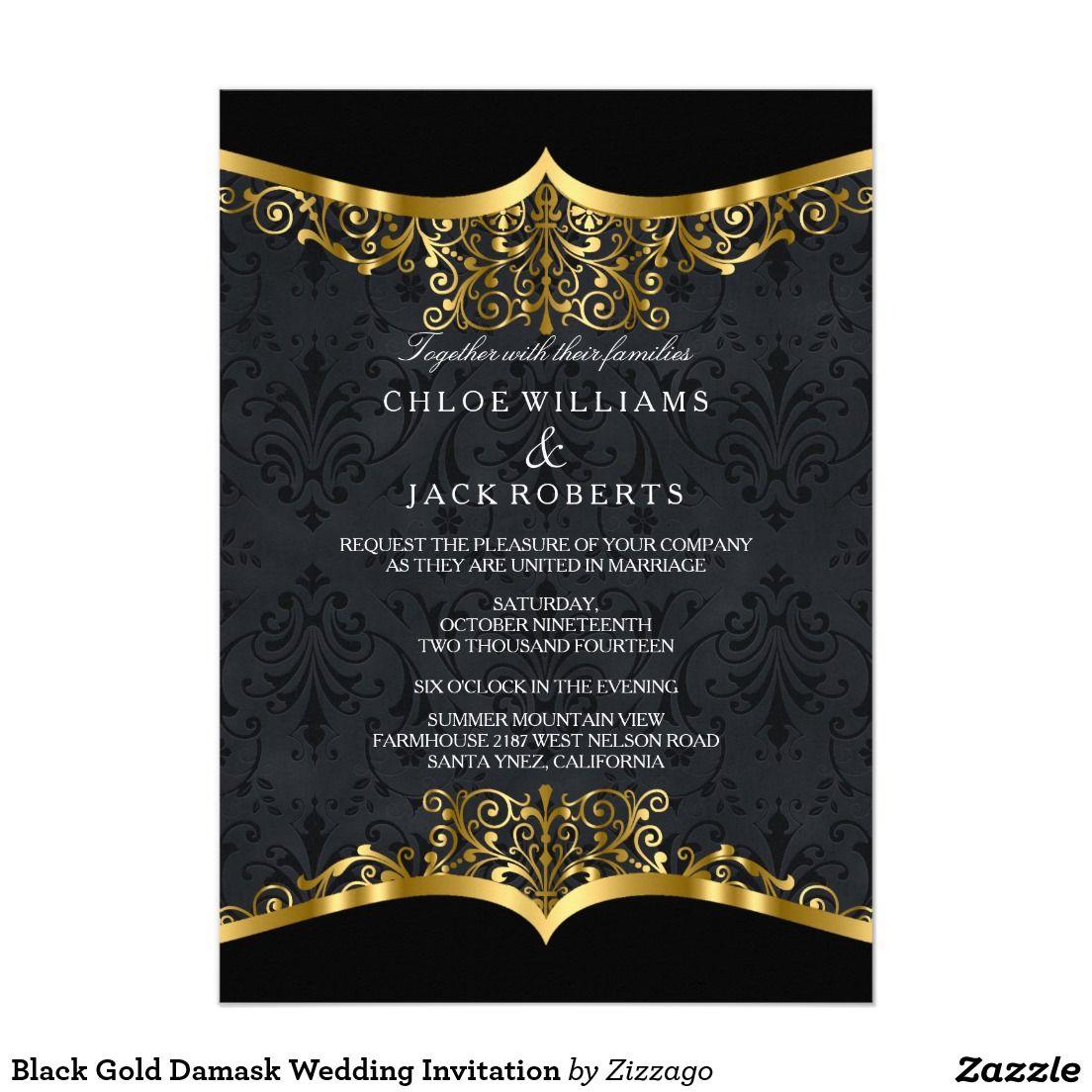 Black Gold Damask Wedding Invitation Zizzago Invitations Pinterest