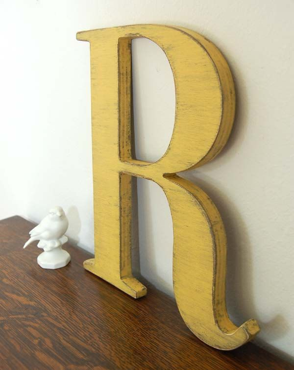 wall letter R wooden letters cottage decor signage Yellow. $32.00 ...