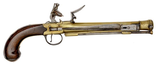 Brass Blunderbuss Flintlock Pistol with Folding Bayonet by <i>Grice, London</i> (4/26 & 4/27 - Firearms and Militaria: Live Salesroom Auction )