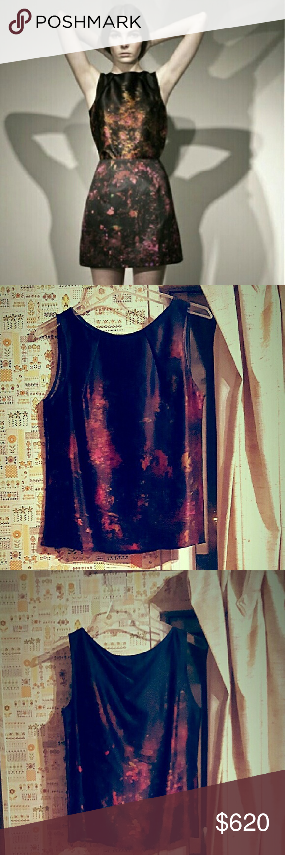 Erdem Silk Printed Top Never worn. Original tags attached. Pre fall look. Size: UK10/US6. Allover purple and pink stardust galaxy print. Boatneck. Slips on. 100% silk. Dry clean. Made in    Portugal. Matching skirt also available in my closet. erdem Tops Camisoles