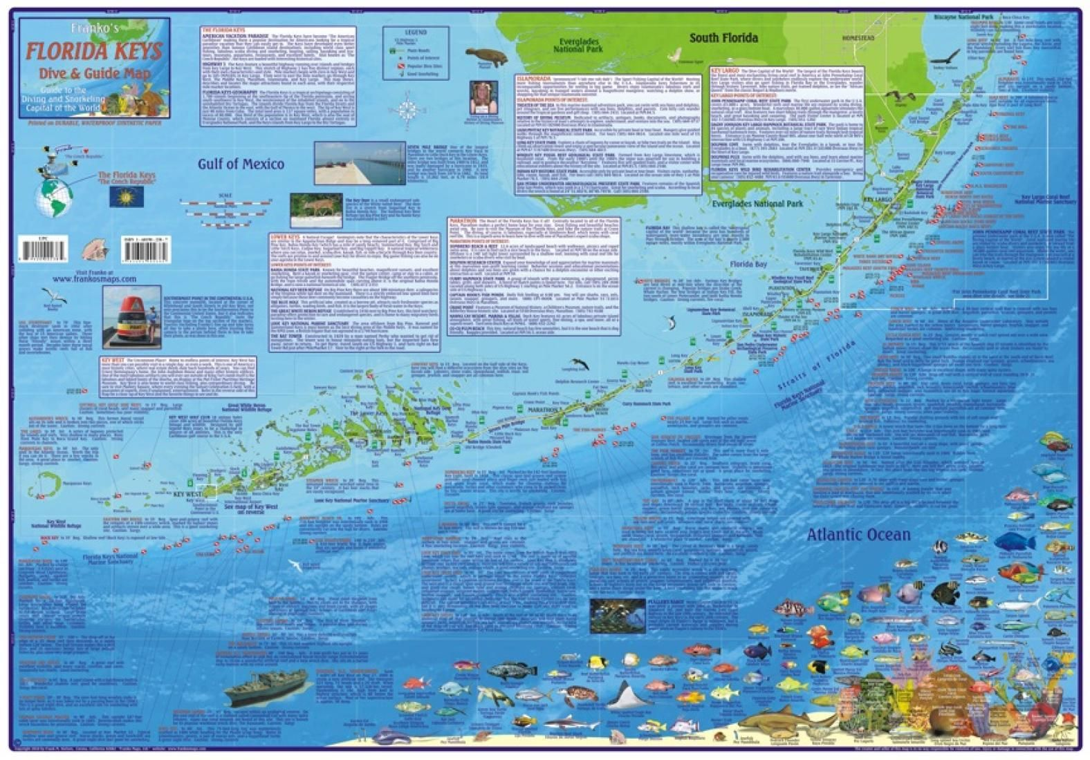 Florida Keys Maps.Florida Map Florida Keys Guide And Dive Laminated 2010 By Frankos