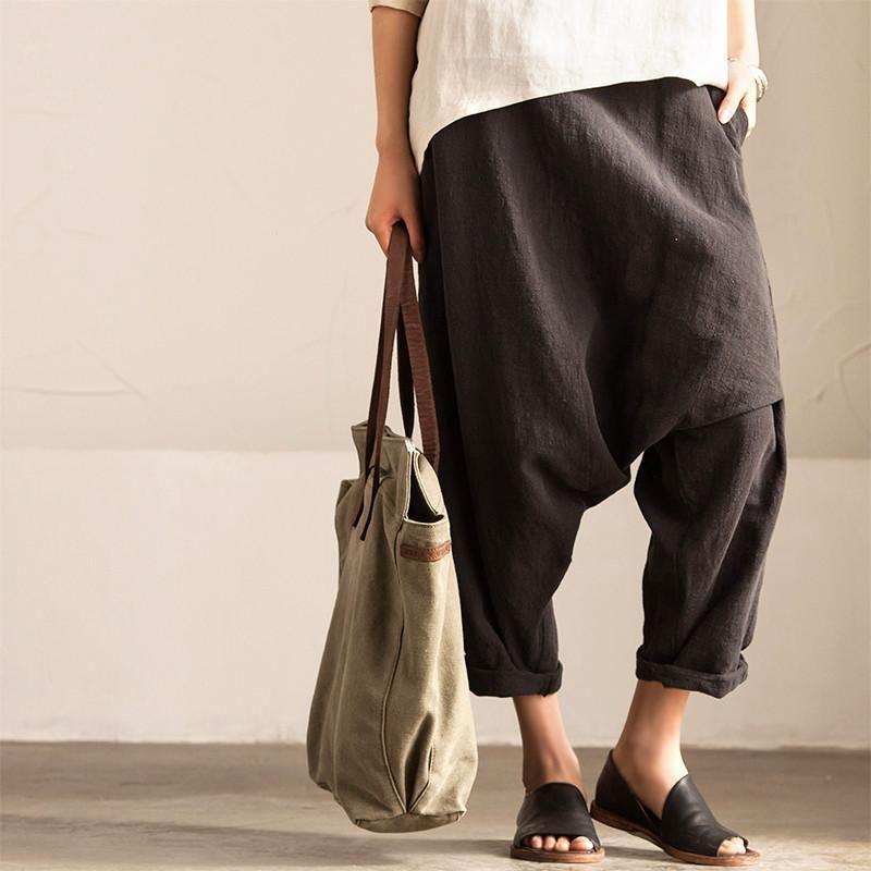 Black Art Causal Cotton Linen Trousers Women Clothes