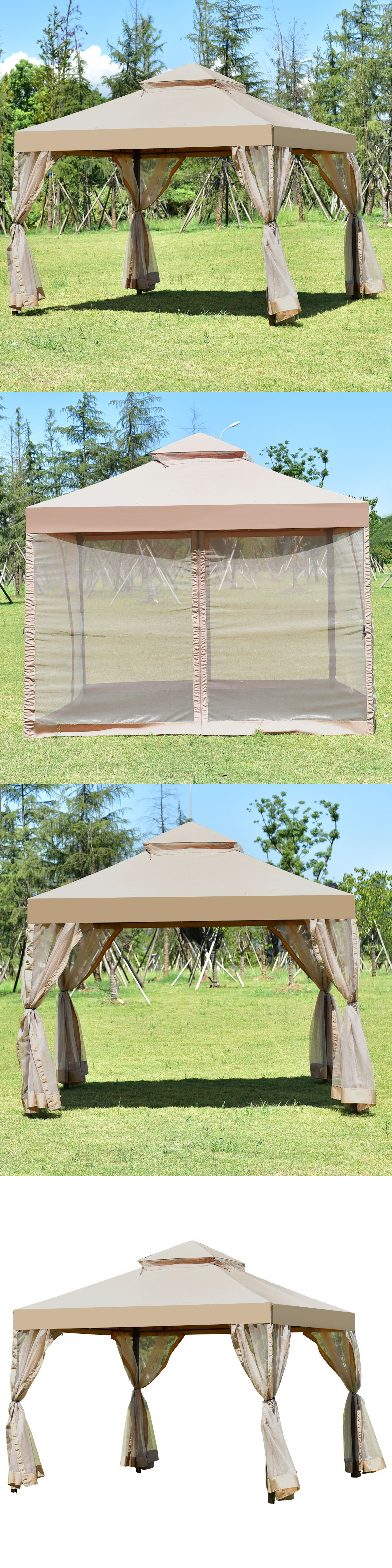Awnings And Canopies 180992 Outdoor 2 Tier 10 X10 Gazebo Canopy Shelter Awning Tent Patio Garden Brown New Buy It Now O Gazebo Canopy Canopy Shelter Gazebo