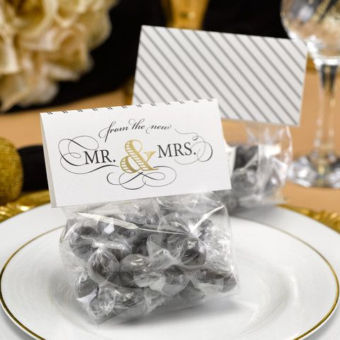 "White, treat topper cards with ""From the new Mr. & Mrs."" design in black and gold faux foil printed on the front with black and white stripe design on the backside."