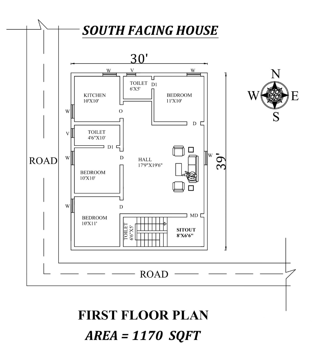 Amazing 30 X39 3bhk South Facing House Plan As Per Vastu Shastra Autocad Drawing File Details Cadbull South Facing House 30x40 House Plans 2bhk House Plan