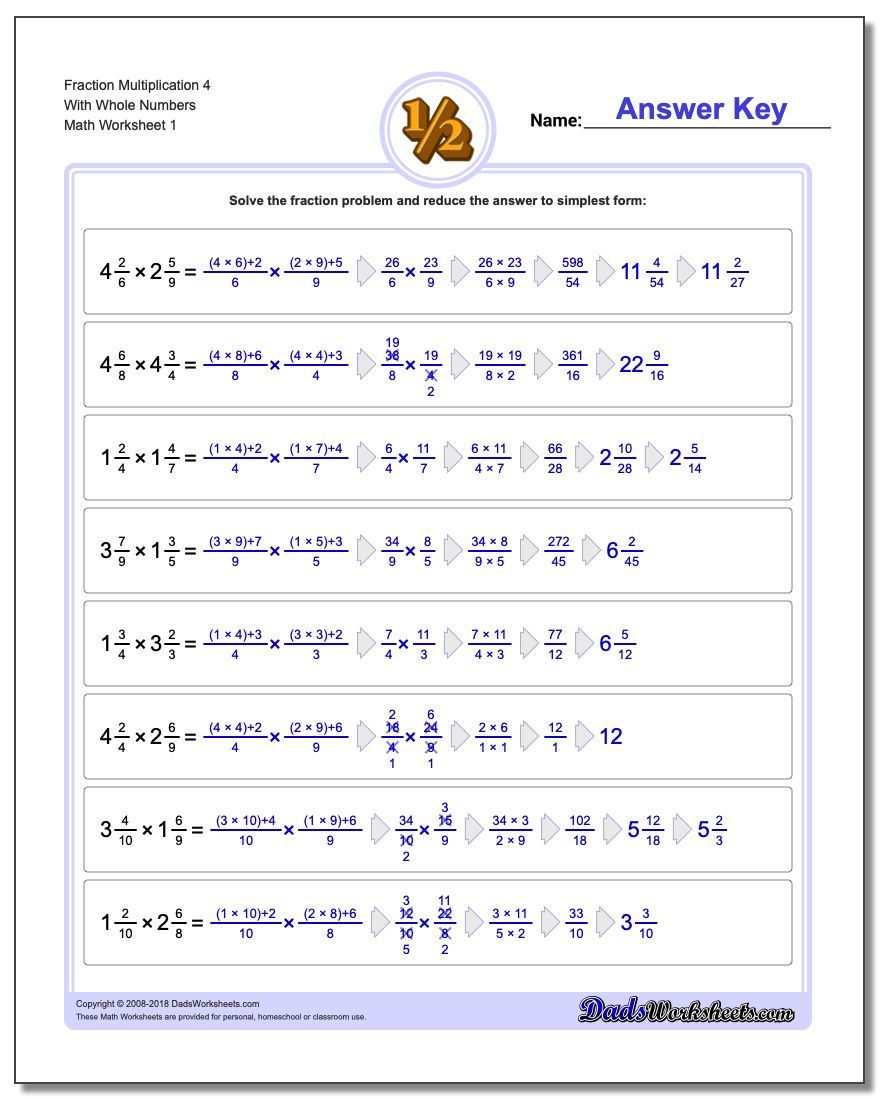 Fraction multiplication worksheets with amazing detailed