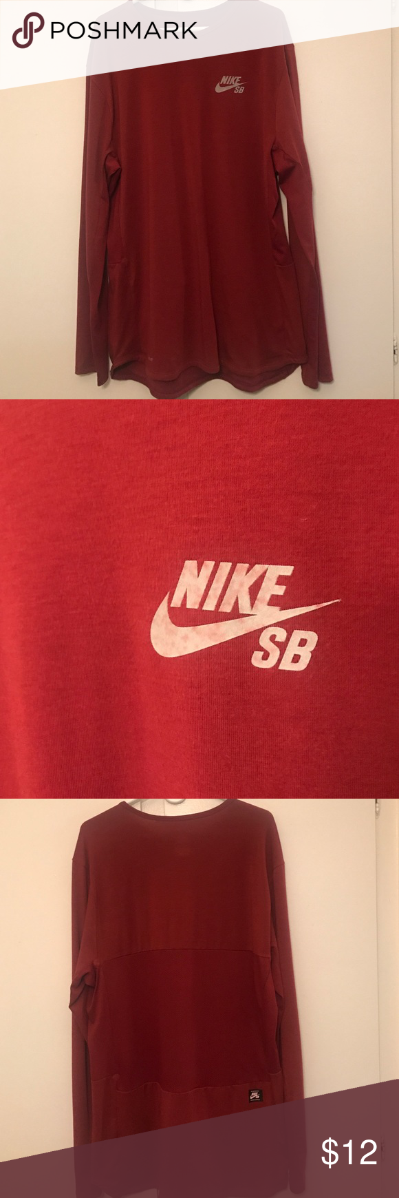 Nike SB long sleeve Maroon dri-fit long sleeve tee with mesh on the sleeves and the back. Sleeves have the thumb hole in them also Nike Shirts Tees - Long Sleeve