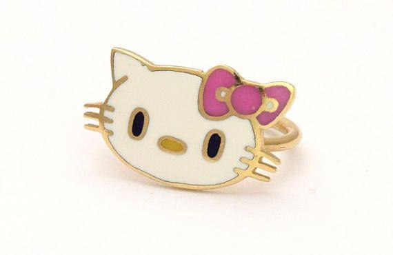 Hello Kitty 14k Gold Ring Children Ladies Retro Pop Art Ring Solid