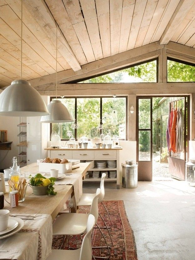 French Country Style Kitchen Concrete Floors W Warm Wood Ceiling