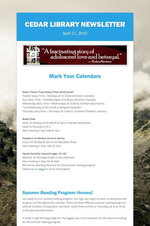 Cedar Library Newsletter