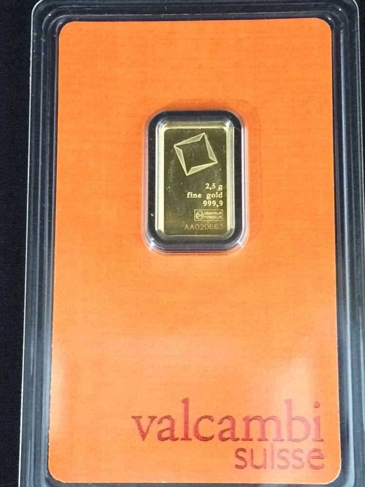 2 5 Gram Gold Bar 999 9 Fine Valcambi Suisse In Sealed Assay Gold Bullion Bars Gold Bullion Gold