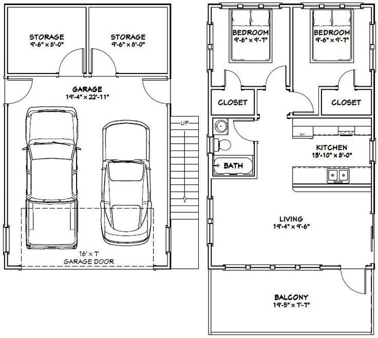 Independent And Simplified Life With Garage Plans With: 20x32 Tiny House -- #20X32H7K -- 808 Sq Ft