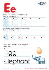 Abc Alphabet Worksheets Letter E Tracing Pdf Writing Pinterest
