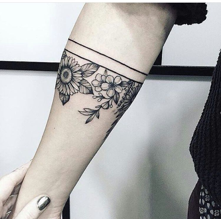 Arm Band Flowers Forearm Band Tattoos Cuff Tattoo Arm Band Tattoo For Women