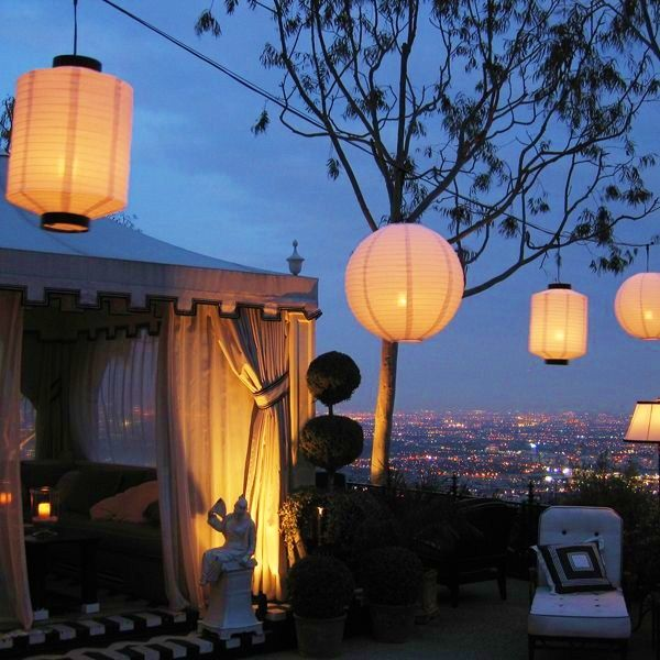 tent and lanterns..