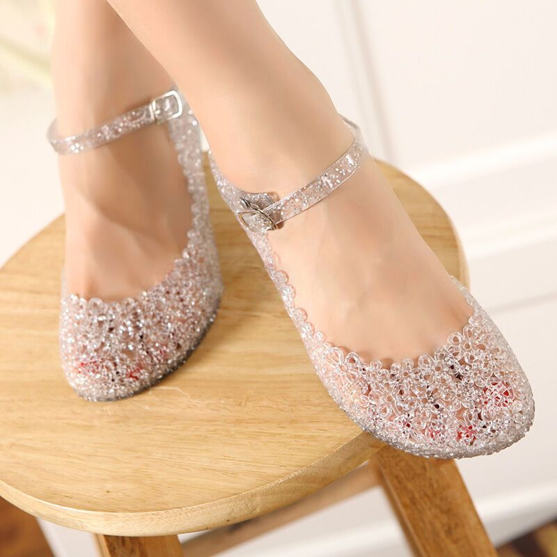 af5f0e44ef62dc High Heels Glass Slipper Jelly Shoe For Women Sandals Girls Beach Wedge Shoe