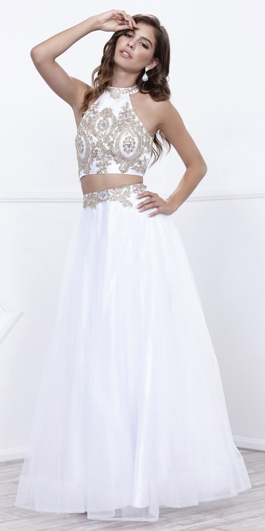 White Gold Embellished Halter Two-Piece Prom Dress Long in 2019 ... 84bcebfb39f5