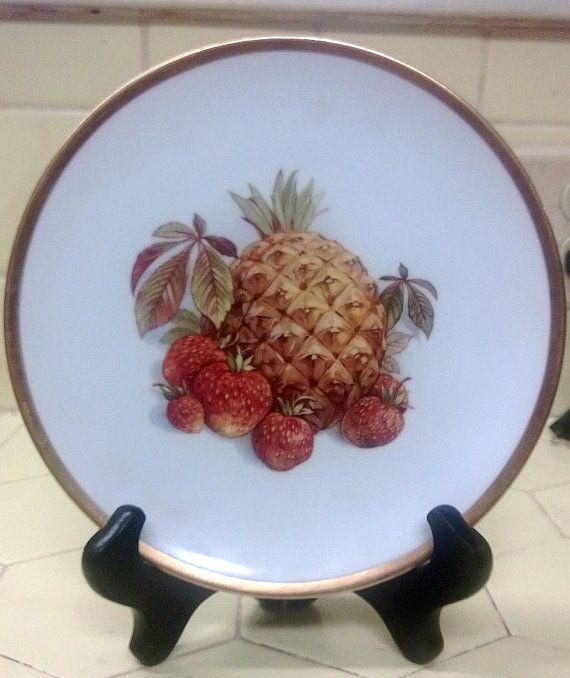 Vintage PMR Bavaria China plate, pineapple and strawberries