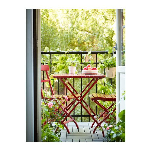 m lar tisch au en rot ikea garten terasse pinterest balkon terrasse und balkon ideen. Black Bedroom Furniture Sets. Home Design Ideas