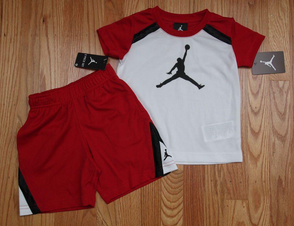 detailed look 06603 b0fe4 Air Jordan Toddler Boy Tee   Shorts Set ~ Red, White   Black ~Jumpman ~   Jordan  Jumpman
