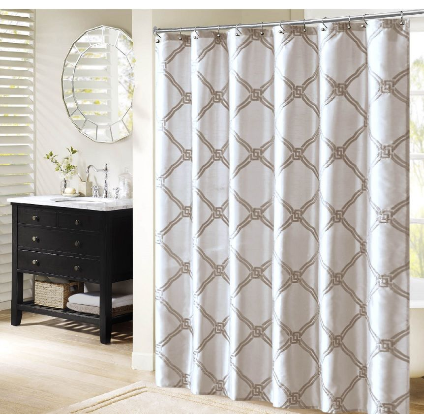 Teramo in Blue, Charcoal, Ivory, and White Embroidered Shower Curtains by Bombay