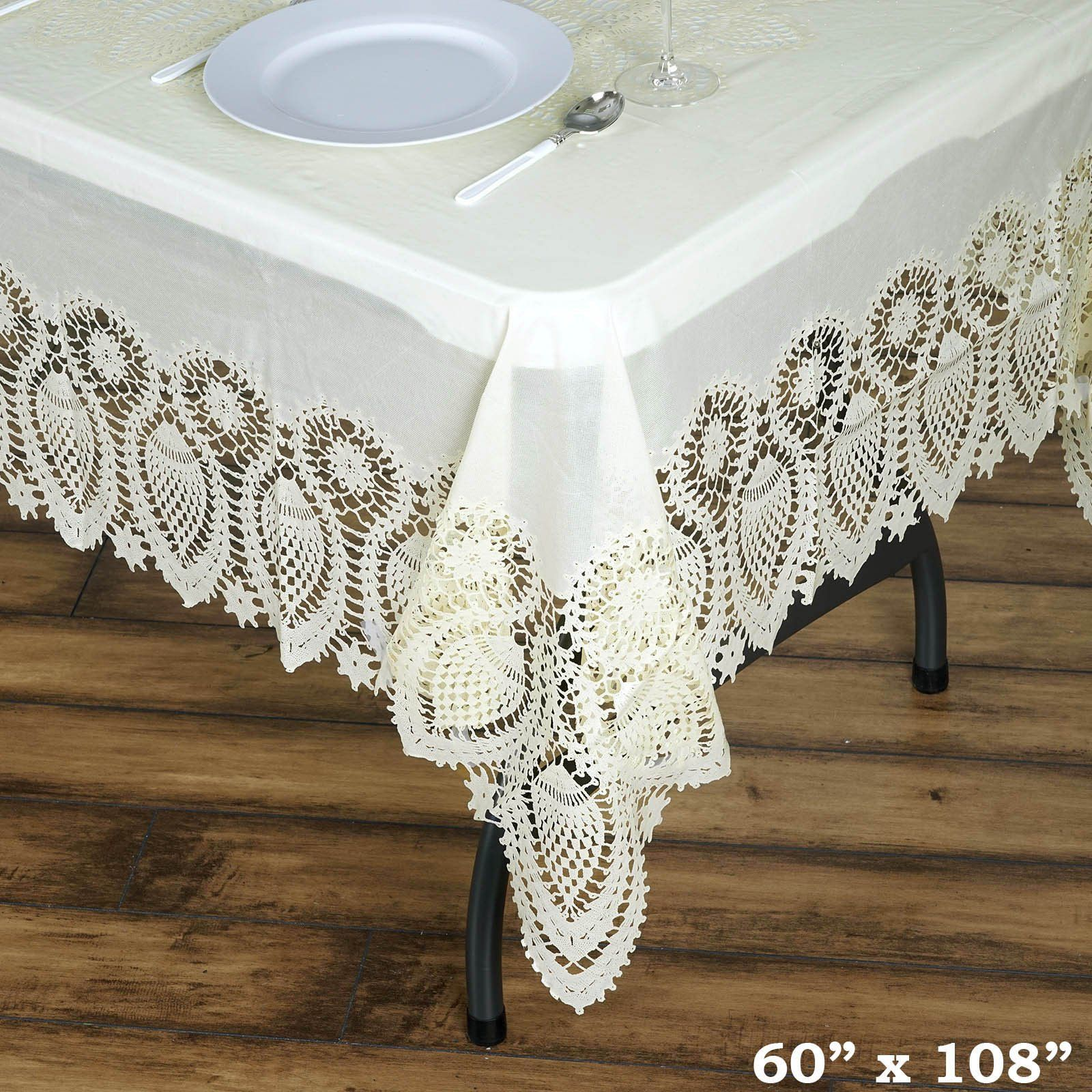 """60""""x108"""" Ivory Disposable Waterproof Lace Vinyl Tablecloth"""