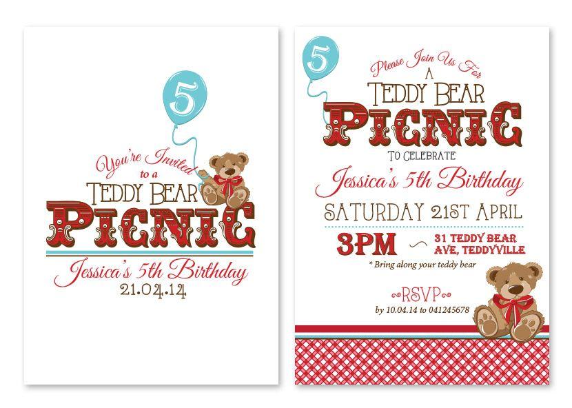 Teddy Bearu0027s Picnic Personalised Party Invitations - Custom - picnic invitation template