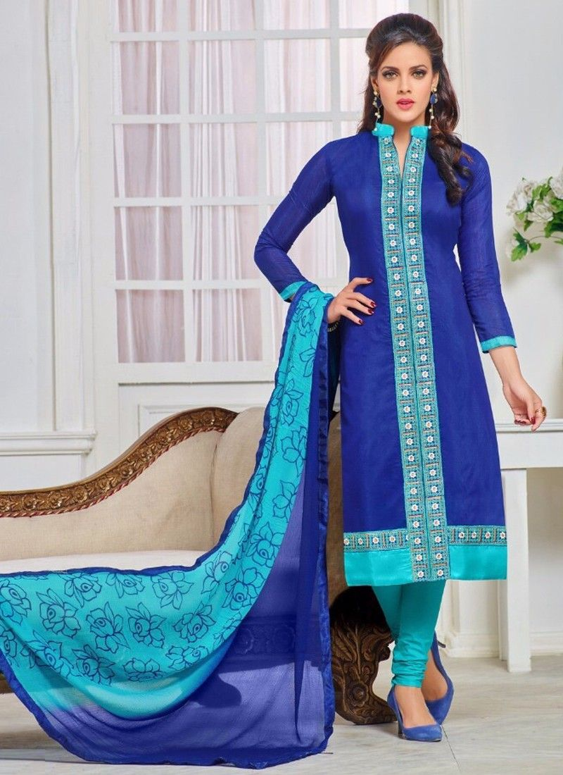 Sizzling Royal Blue Coloured Cheri Cotton Printed Indian Designer ...