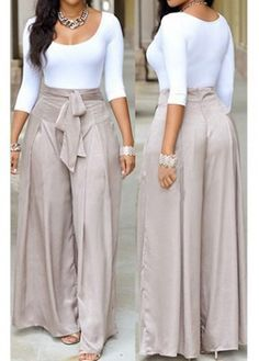 Scoop Neck White Top and Grey Loose Pants   modlily.com