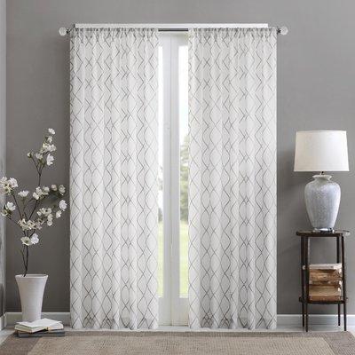 Birch Lane Heritage Tammi Geometric Sheer Rod Pocket Single Curtain Panel Size Per Panel 50 W X 84 L Colour White Grey Sheer Curtain Panels White Paneling Curtains
