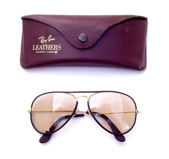 3933ee2220 Vintage Ray Ban Bausch Lomb B L 58 14 LEATHERS CHANGEABLE PHOTOCHROMIC  Aviators