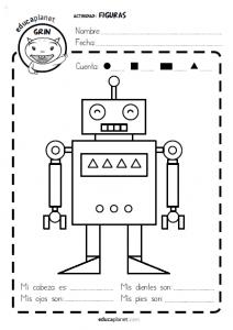 Formas 2d Imprime Ficha Formas Geometricas Infantil Gratis Con El Robot Imagenes De Robots Figuras Geometricas Para Armar Figuras Y Cuerpos Geometricos