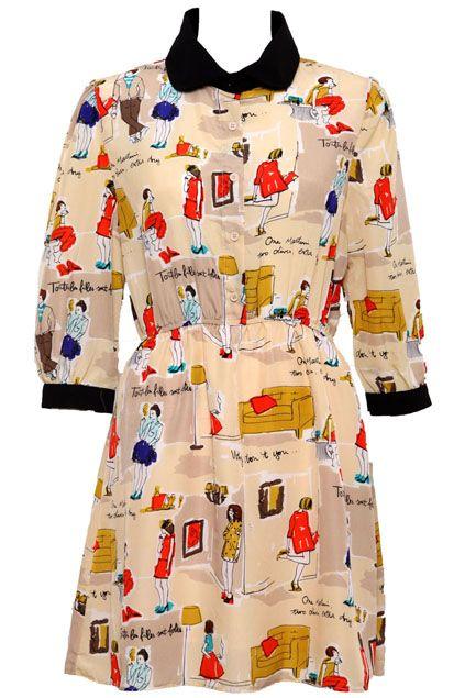 #Romwe Various Cartoon Lady Beige #Dress #Romwe