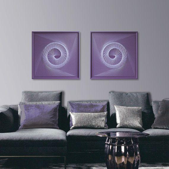 Zen Wall Art in Purple  Abstract Spiritual Wall by FeniksArtDeco