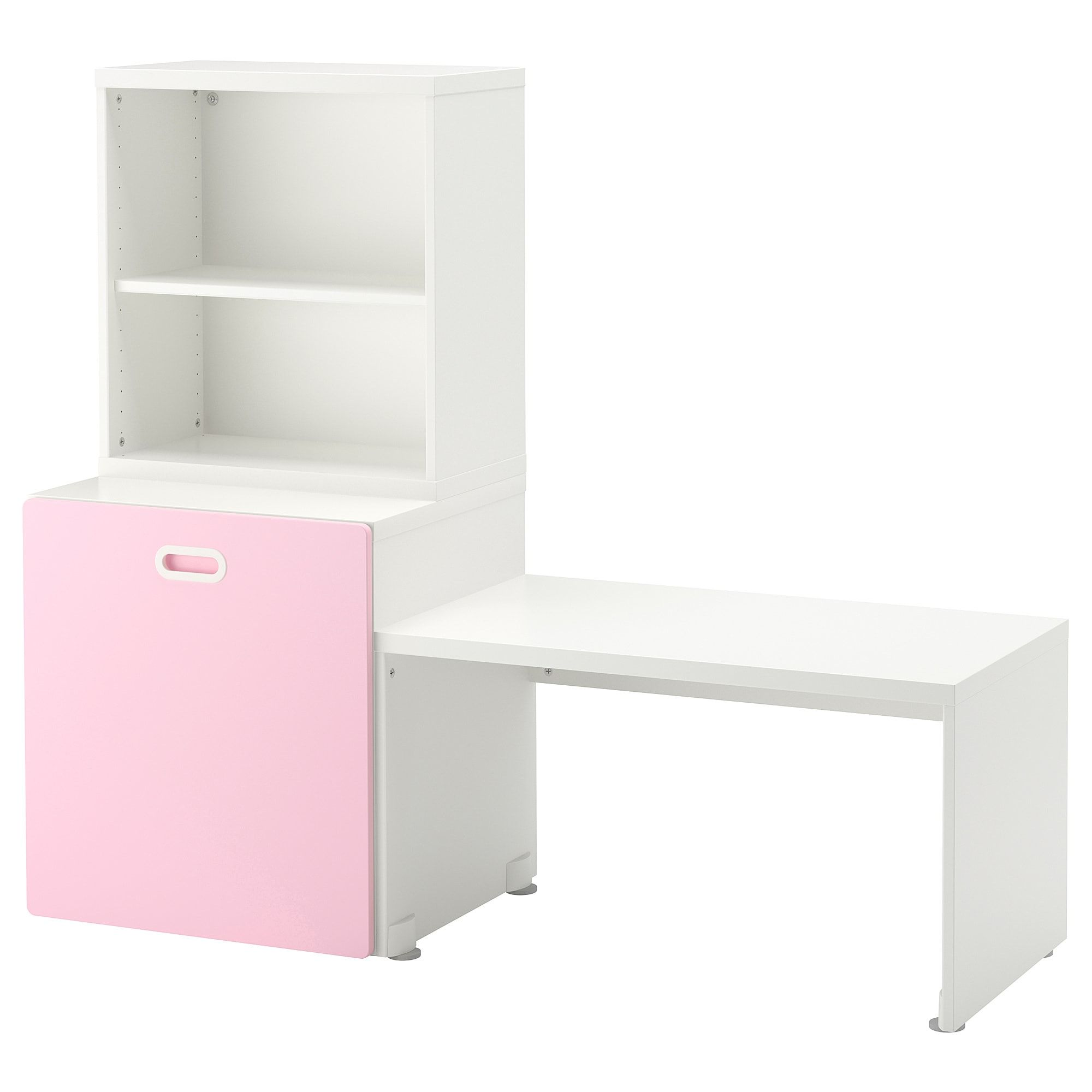 STUVA / FRITIDS Table with toy storage, white, light pink, 6x6 6