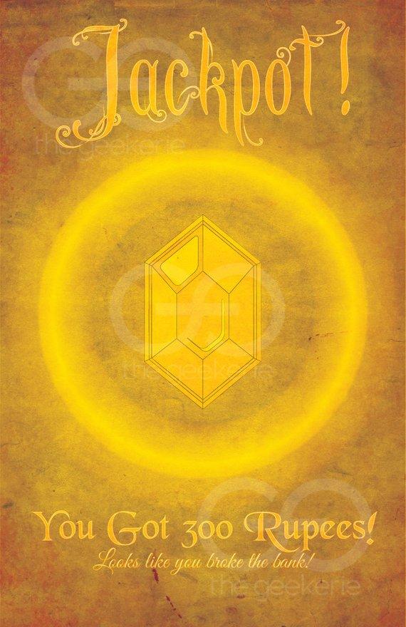 Legend of Zelda: Video Game Art // Golden Rupee Reward Poster
